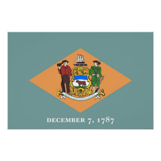 Patriotic wall poster with Flag of Delaware