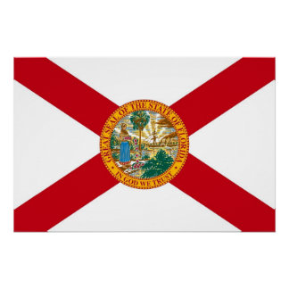 Patriotic wall poster with Flag of Florida
