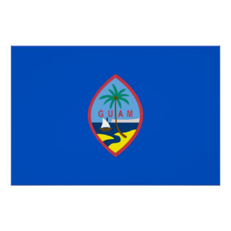 Patriotic wall poster with Flag of Guam