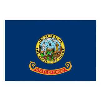 Patriotic wall poster with Flag of Idaho