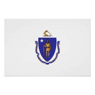 Patriotic wall poster with Flag of Massachusetts Perfect Poster