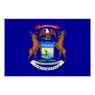 Patriotic wall poster with Flag of Michigan