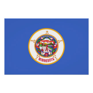Patriotic wall poster with Flag of Minnesota