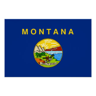 Patriotic wall poster with Flag of Montana Perfect Poster
