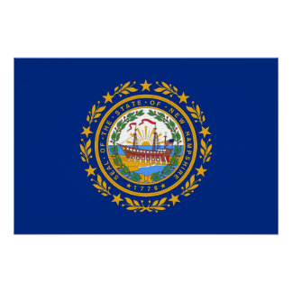 Patriotic wall poster with Flag of New Hampshire