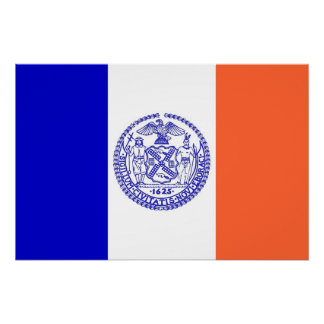 Patriotic wall poster with Flag of New York City