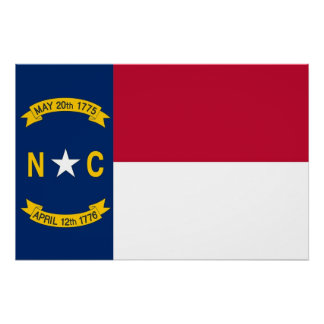 Patriotic wall poster with Flag of North Carolina