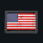 """Patriotic wallets with vintage American flag<br><div class=""""desc"""">Patriotic wallet with vintage American flag. Wallets with distressed flag of America. Patriotic red white and blue design. Great gift idea for 4th of July / Independence Day. USA stars and stripes pride.</div>"""