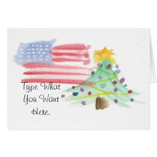 Patriotic Watercolor Christmas Card - Ver. 9
