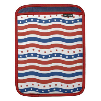 Patriotic Wavy Stars and Stripes Freedom Flag Sleeve For iPads