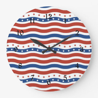 Patriotic Wavy Stars and Stripes Freedom Flag Large Clock