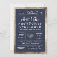 Patriotic Wedding Stars and Stripes Faux Gold Foil Announcement