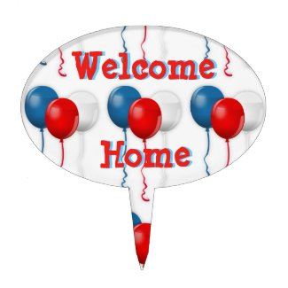 Patriotic Welcome Home Cake Picks Cake Topper
