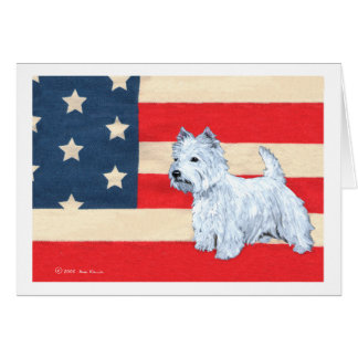 Patriotic West Highland White Terrier Card