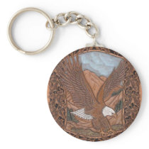 Patriotic Western country tooled leather Eagle Keychain