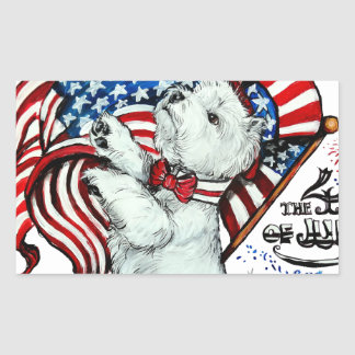 Patriotic Westie Rectangular Sticker