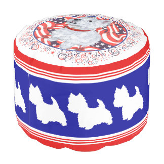Patriotic Westies on Parade Pouf