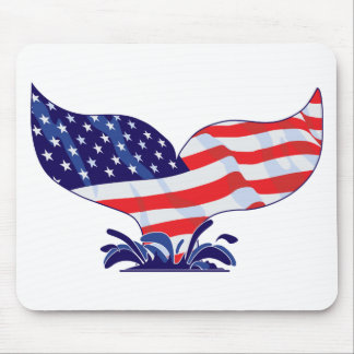 Patriotic Whale Tail Mouse Pad