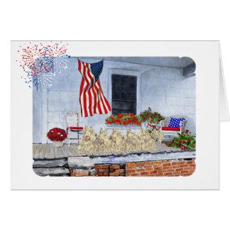 Patriotic Wheaten Scottish Terriers Card