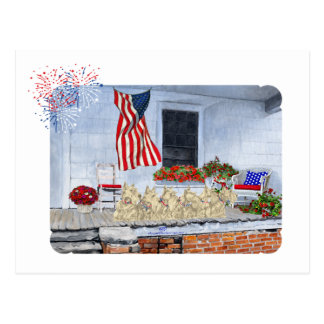 Patriotic Wheaten Scottish Terriers Postcard