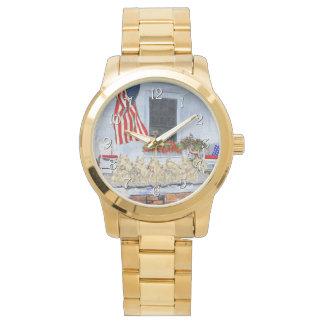 Patriotic Wheaten Scottish Terriers Wristwatches