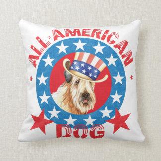Patriotic Wheaten Throw Pillow