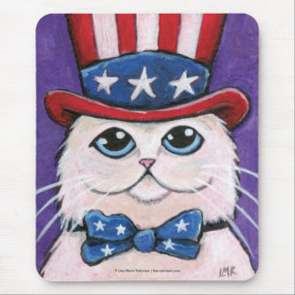 Patriotic White Persian Cat | 4th of July Mousepad