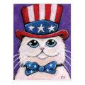 Patriotic White Persian Cat | 4th of July Postcard