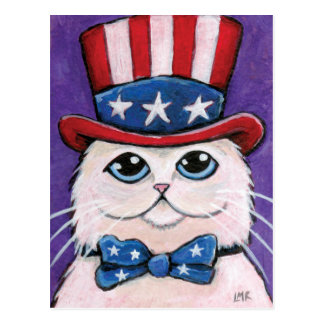 Patriotic White Persian Cat | 4th of July Postcard