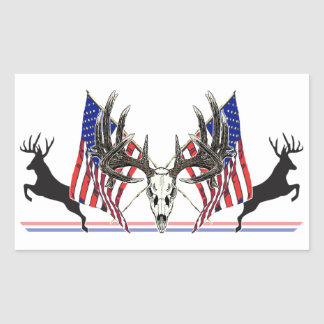 Patriotic Whitetail buck Rectangular Sticker