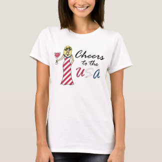 "Patriotic Wine Goddess ""Cheers To The USA"" Light T-Shirt"