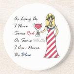 "Patriotic Wine Goddess ""Red Or White...Never Blue"" Beverage Coaster"