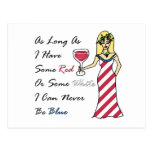 """Patriotic Wine Goddess """"Red Or White...Never Blue"""" Post Cards"""