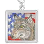 Patriotic Wolf with American Flag Necklace