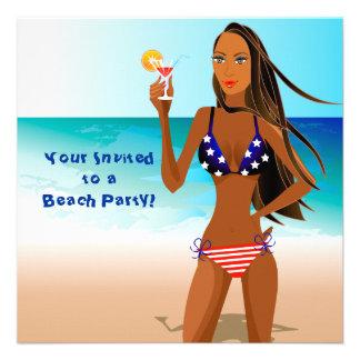 Patriotic Woman.ai, Your Invitedto aBeach Party! Custom Invites