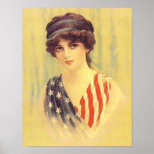 Patriotic Woman Illustration Print