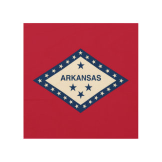 Patriotic wood canvas with Flag of Arkansas