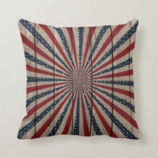 Patriotic Wood texture Throw Pillow