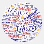 Patriotic Words Design Classic Round Sticker