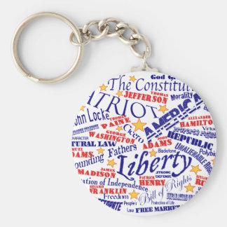 Patriotic Words Design Keychain