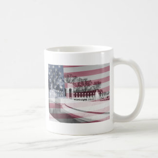 Patriotic WWII memorial bnw with flag Coffee Mugs