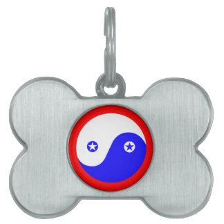 Patriotic Yin Yang Bone Shape Custom Dog Tag