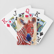 Patriotic Zebra Bicycle Playing Cards