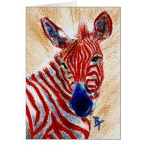 Patriotic Zebra Blank Card