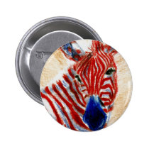 Patriotic Zebra Button