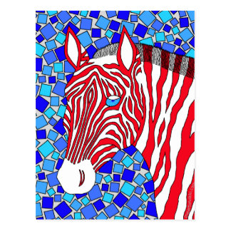 Patriotic Zebra Colorful Art Post Card