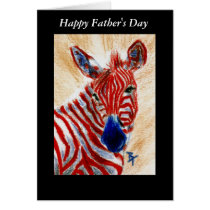 Patriotic Zebra Father's Day card
