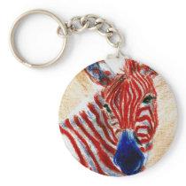 Patriotic Zebra Keychain