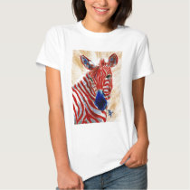 Patriotic Zebra Ladies Tshirt