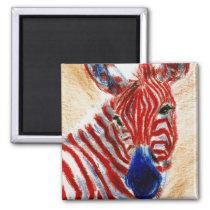 Patriotic Zebra Magnet